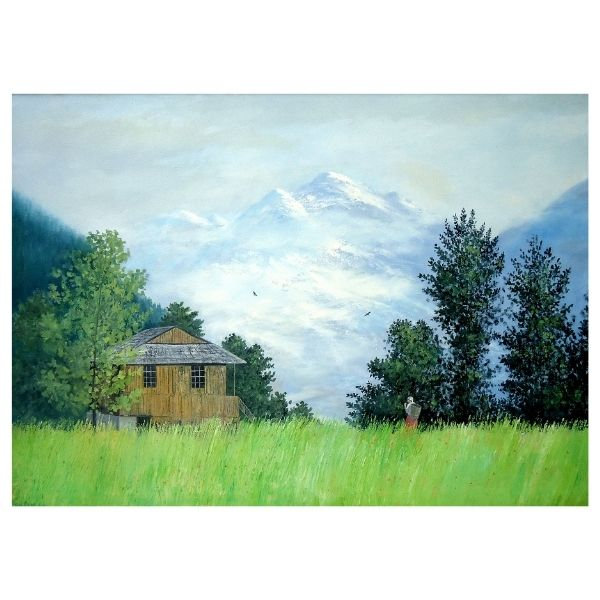 Green Field of Manali | Oil Painting | 36×25.5