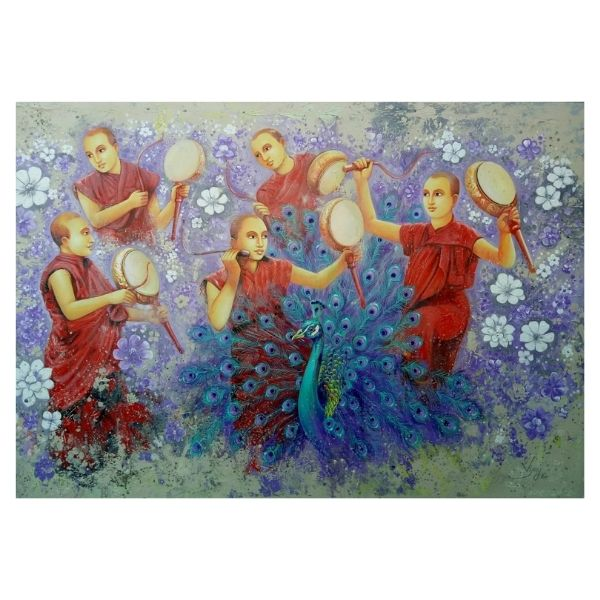 Dancing Monks | Acrylic Painting by Vijay Vansh | 48x72