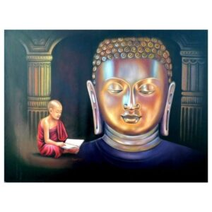 Painting title golden Buddha , size 32 into 46 inches oil on canvas