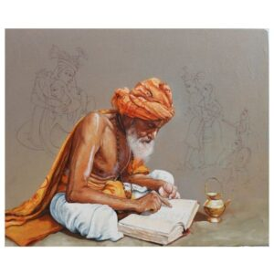 Reading to Hindu literature | Acrylic Painting by Satyabrata Karmakar | 36×30