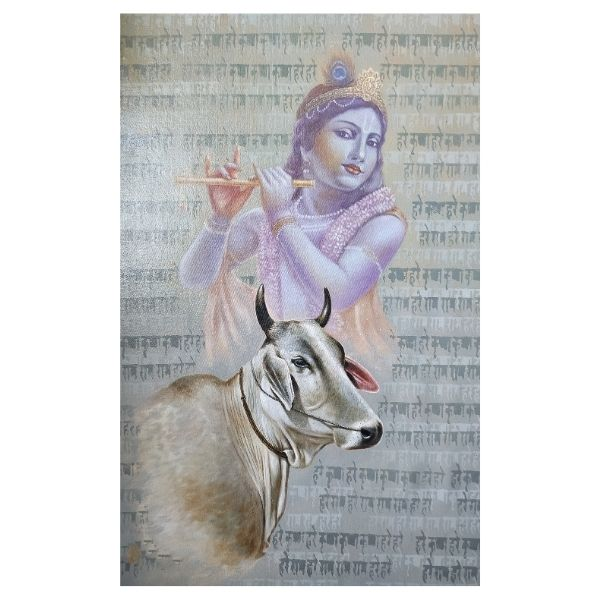 Painting title Krishna with cow size 32 in to 24 inches oil on canvas