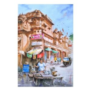 CHAIWALLA_AT_JAIPUR | Watercolor_on_handmade_paper | 21X14