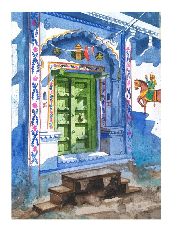 BLUE_DOOR-I | Watercolor on_handmade_paper | 14X10