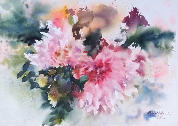 Blooming wash_ 56x76cm