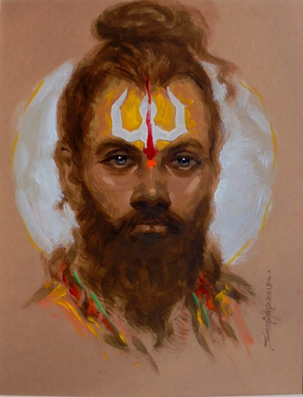 Indian Monk | Acrylic On Filecard by Sanjay Dorlikar | 28×36