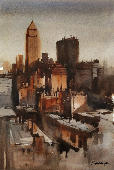 NEW YORK SKYLINE | Watercolor Painting | 15×22