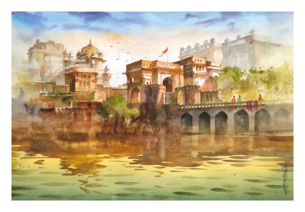 ORCHHA_FORT | Watercolor_on_handmade_paper | 21X14