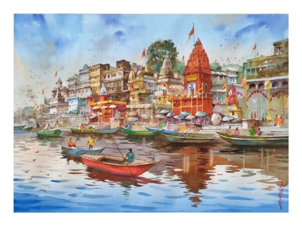 PRAYAG_GHAT_VARANASI | Watercolor_on_handmade_paper | 30X22
