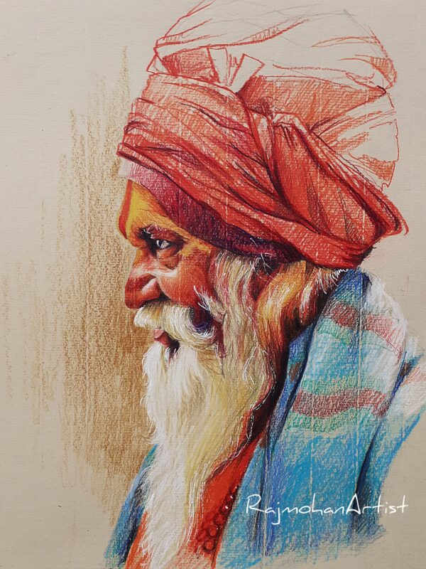 SADHU | Colorpencils on Pastelpaper | 11X14