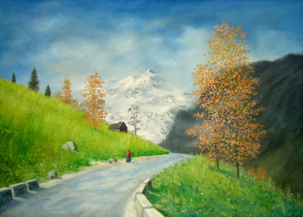 Way to Rohtang | Oil Painting | 36.5×26