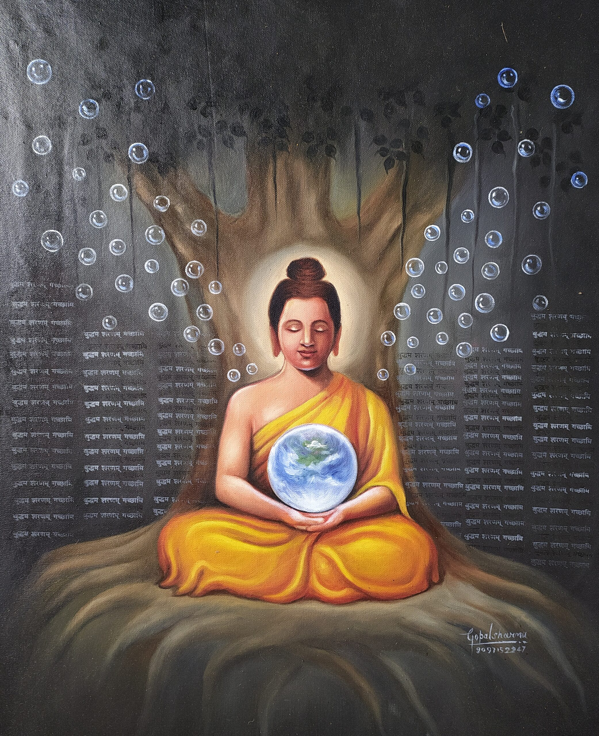Painting title Buddha with earth size 24 into 22 inches oil on canvas artist