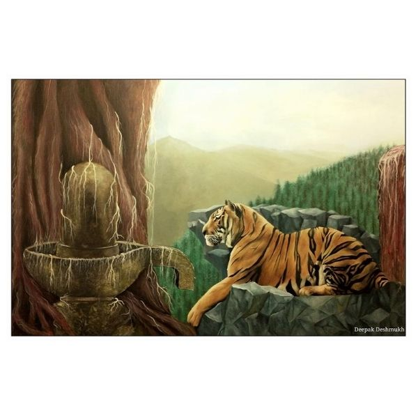 Shiva and Tiger | 48x72 Inch | Mix Media on Canvas