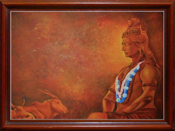 Shiva and Cow | 48x36inch | Acrylic on Canvas
