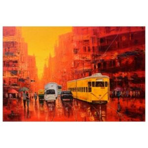 Good Morning Kolkata - Oil on Canvas - 48X72 by Purnendu Mandal