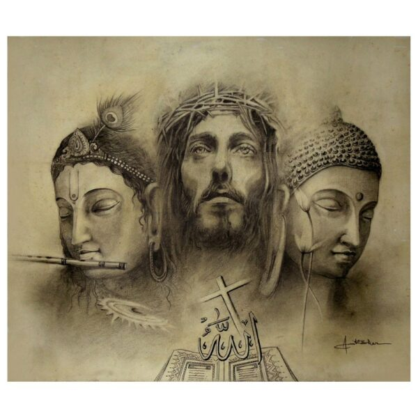 Jesus - Buddha - Krishna - Pencil Sketch  On Paper - 13x15