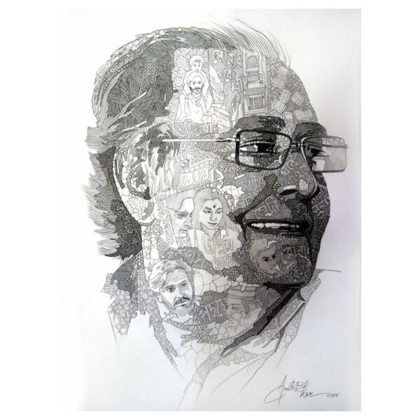 Soumitra Chatterjee - Acrylic & Pen Pencil on Paper - 15x22