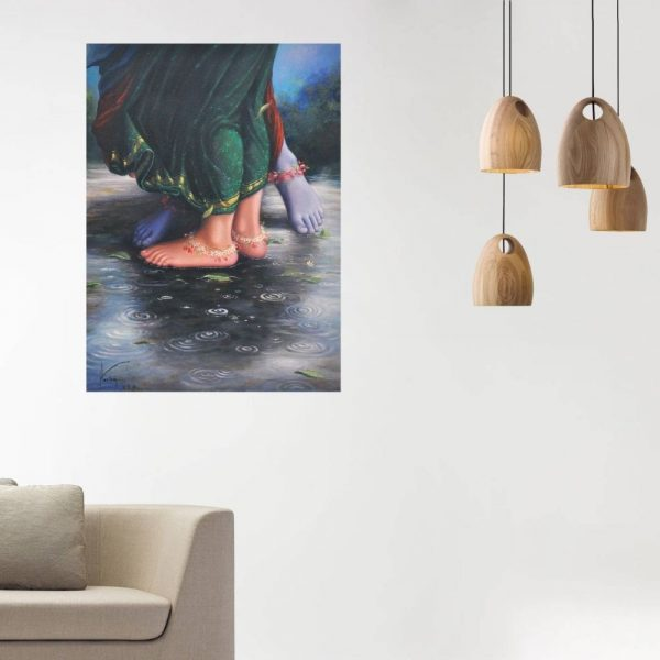 The Dancing Droplets On - The Lotus Feets | Oil Painting By Hari Om Singh