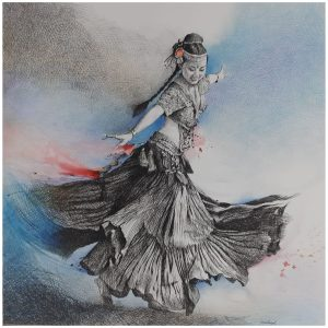 Dancers 6   20×20   Pen and Acrylic Colors on Paper