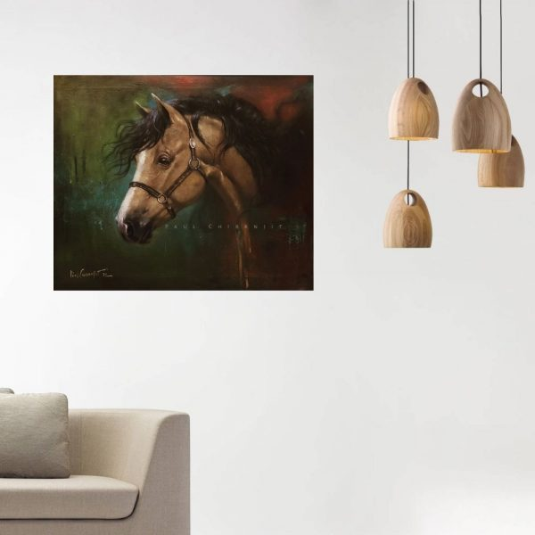 Freedom In Chains - Tribute to Mustang Wild Horse   Oil On Canvas Paintings by Chiranjit Paul   20x24