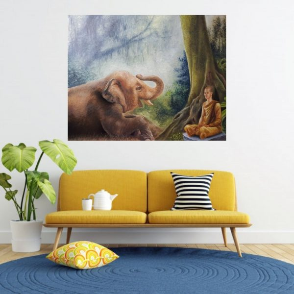 Shiva and Elephant | 24x48 inch | Oil on Canvas