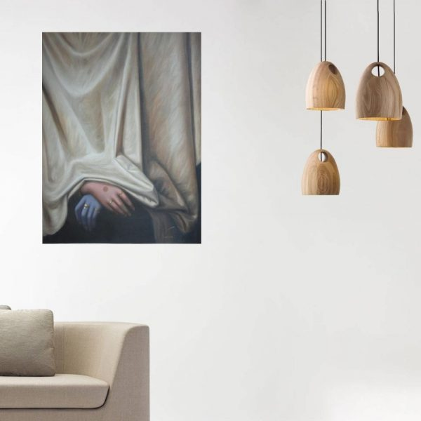 Purity Behind The Drapes | Oil Painting By Hari Om Singh