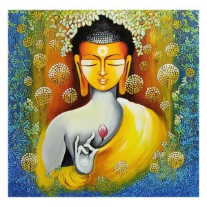 BUDDHA – PEACE BEGINS WITH SElf LOVE – Acrylic On Canvas – 36×36