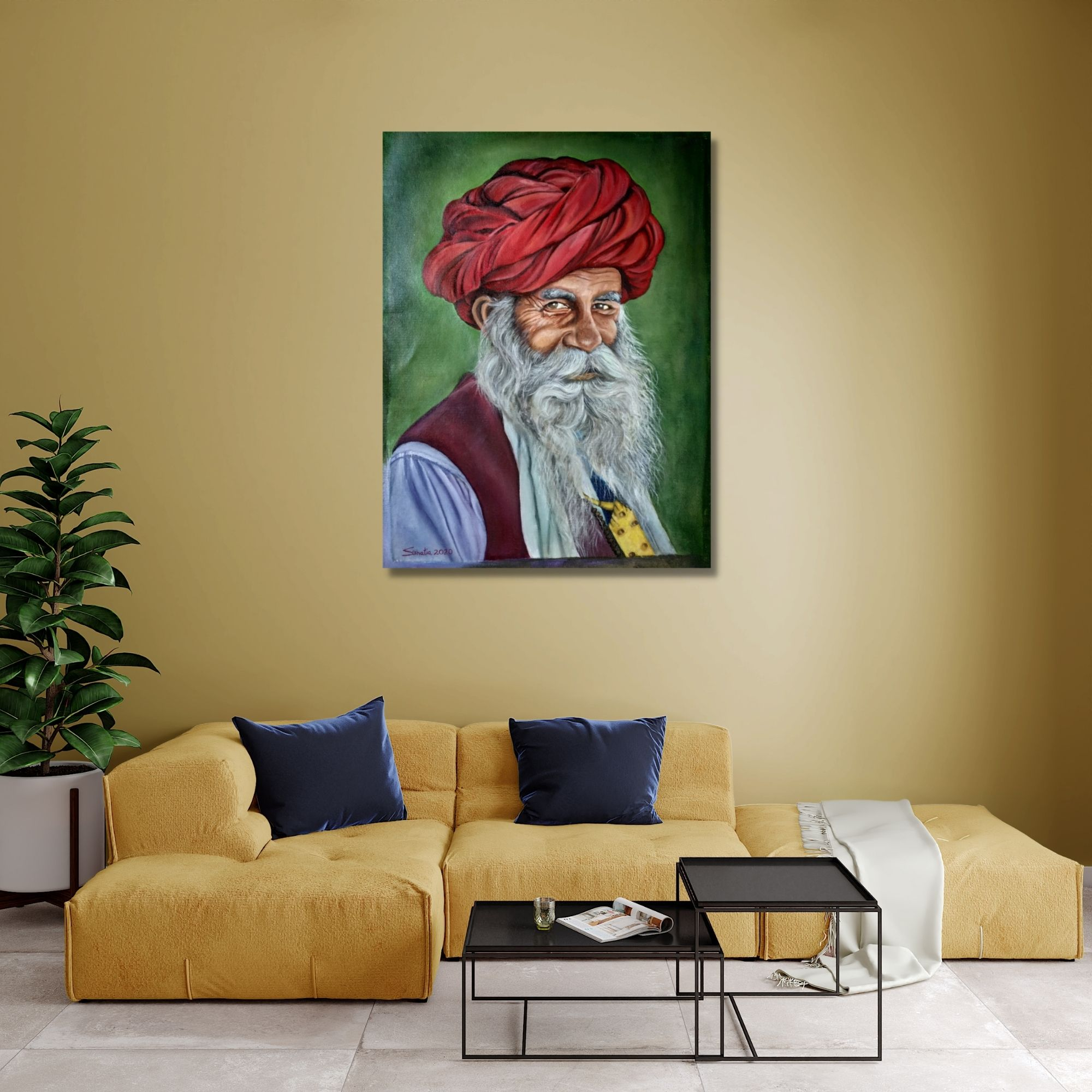 Old Man Portrait - Oil On Canvas Painting - 24x18