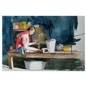 Preparation for the Day - Watercolor On Paper - 56 cm x 38 cm