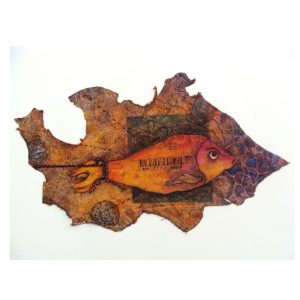 """UNTITLED-VII, 16''X 09'' inches - Leather Dye Colour - Batic on Vegetable TannedLeather Home / Price Bracket / 25,001 - 50,000 / UNTITLED-VII, 16""""X 09"""" inches – Leather Dye Colour – Batic on Vegetable TannedLeather UNTITLED-VII, 16''X 09'' inches - Leather Dye Colour - Batic on Vegetable TannedLeather"""