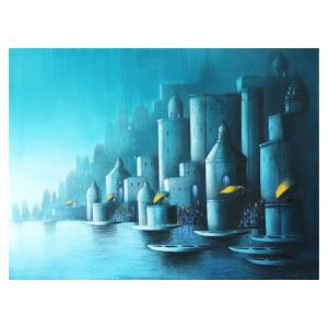 Blue_night_in_Banaras - Acrylic on Canvas - 48 X36 inch