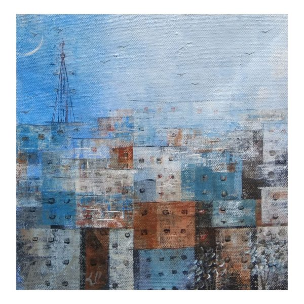 Blue Town 2, Acrylic on Canvas, 7.5 x 7.5 in.