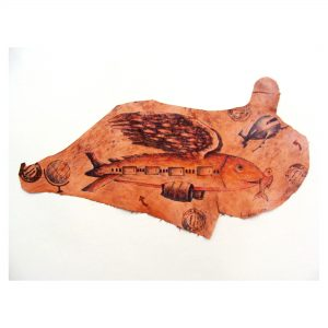 UNTITLED-III, 21''X 11'',,Leather Dye Colour, Batik on Vegetable Tanned Leather