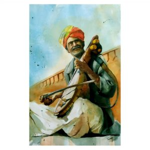 The Kamaicha Player - Watercolor On Paper - 56 cm x 38 cm