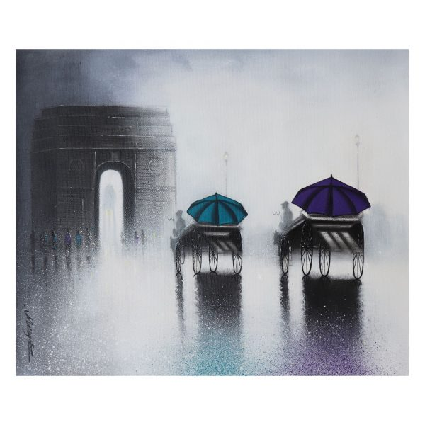 India Gate - Acrylic and Charcoal on Canvas - 18 X 15 inch