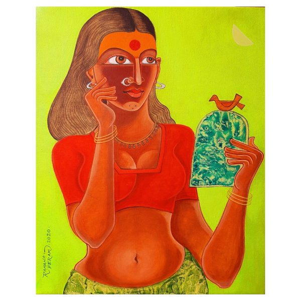 Village girl with mirror -Acrylic On Canvas- 20x16inch