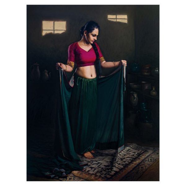 Wearing Saree_Oil on linen_36''x48'' inch