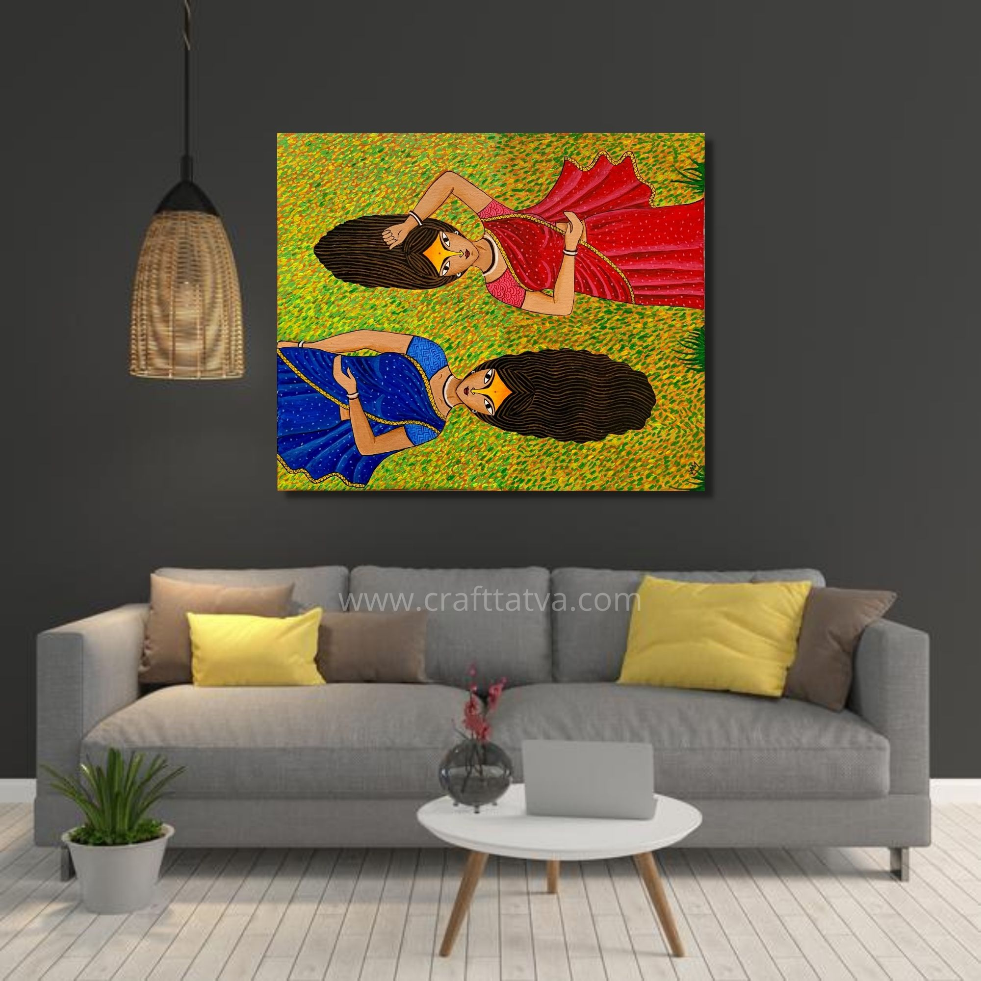 Indian Village women on grass_16x20inch_Acrylic on Canvas