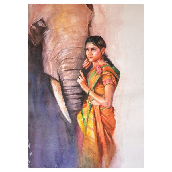 Lady_with_Elephant_23x34inches, Watercolour on paper