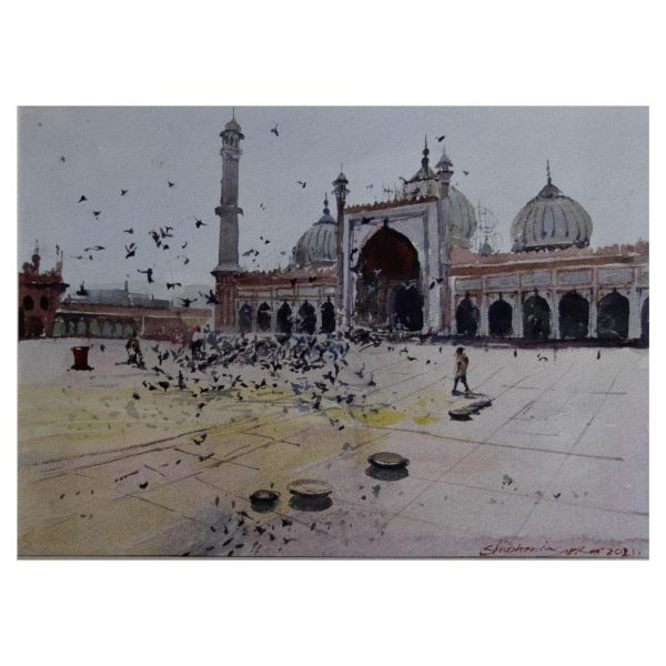 """Jama Masjid -01 """"12x15 inches"""" Watercolor on paper"""