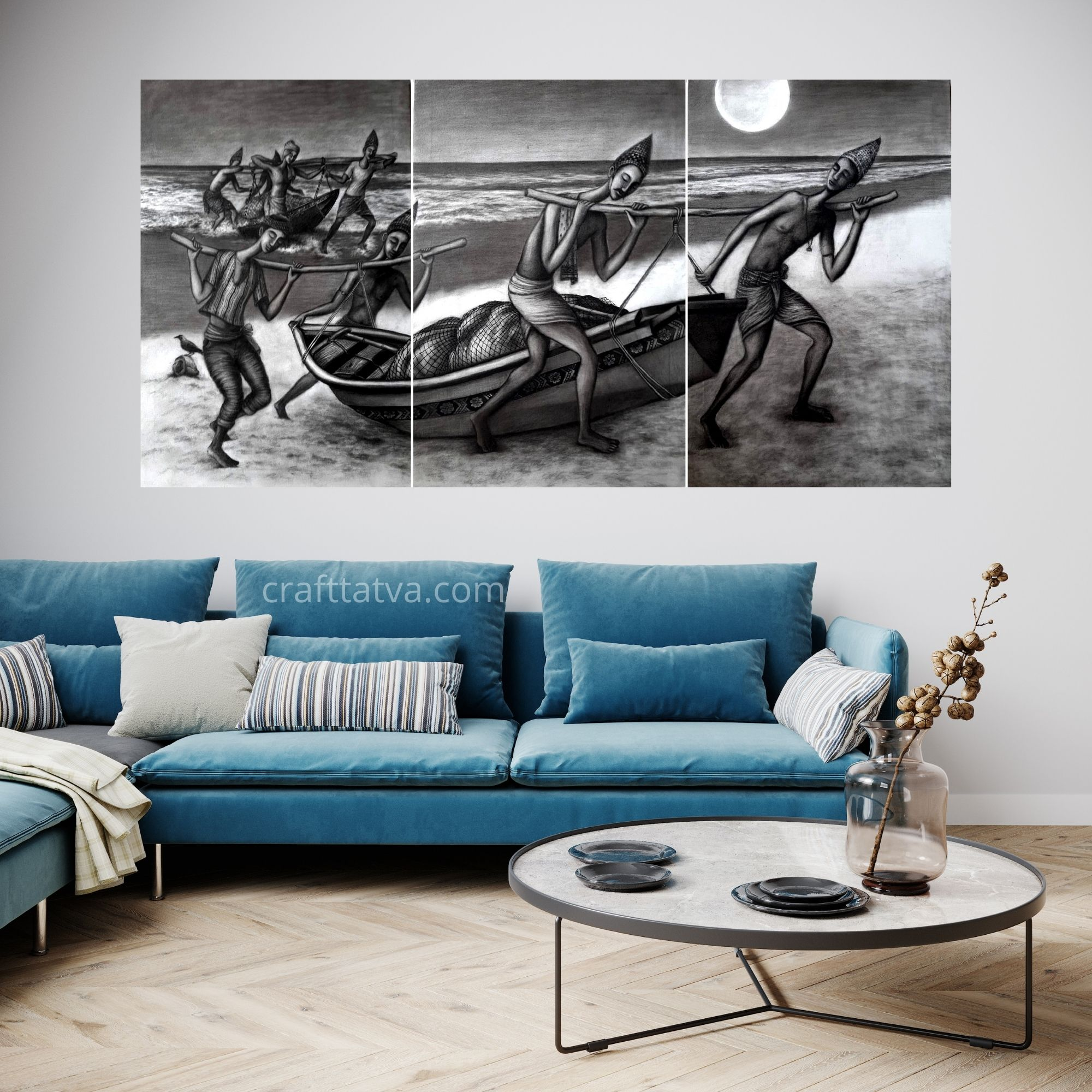 """Tiny Dream - Charcoal on Canvas, Size – 7inchx36 inch(Three canvas each 24""""x36""""inch"""