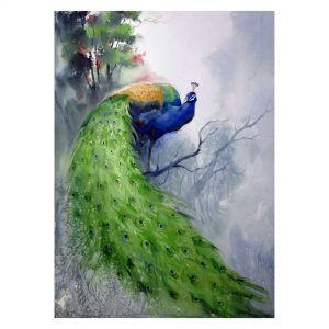 Peacock - watercolor on paper - 22 x 30 inch