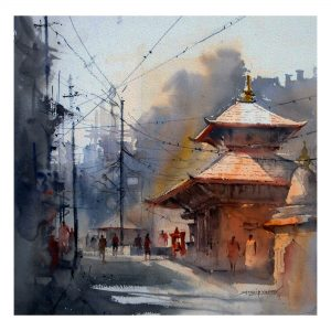 Nepal - watercolor on paper - 12 x 12 inch
