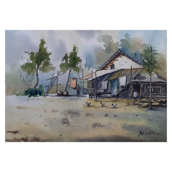 Covered House 12X18inch - Watercolor