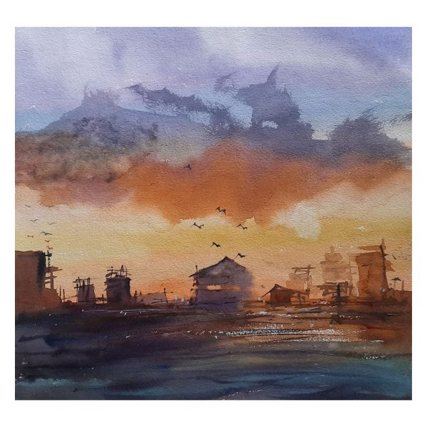 Sunset-12X12inch-Watercolor