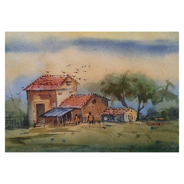 Village Side Story-11X15inch-Watercolor