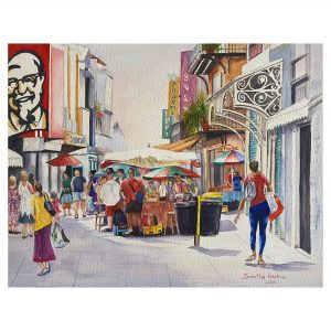 Busy Street - WaterColor - 12x16.5 Inch