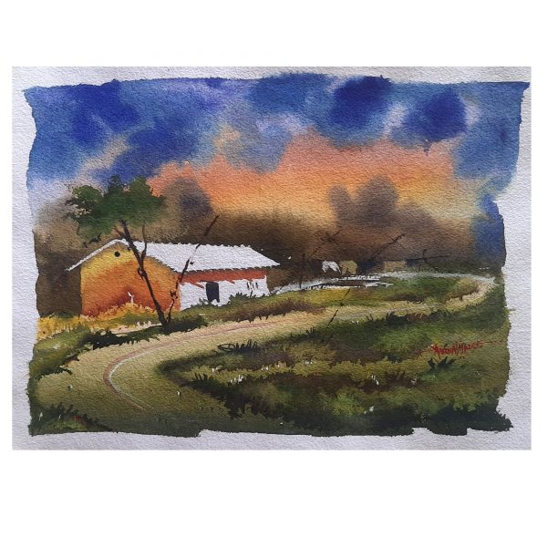 Village Side Story-12X16inch-Watercolor