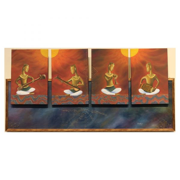 Rhythm Divine The sound Of The Universe - Oil on Canvas - 24x54 Inch