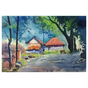 Old Town - Watercolor on Handmade Paper - 38 cm x 56 cm