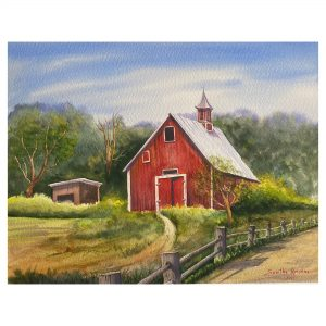 The Red Barn - WaterColor - 12x16.5 Inch